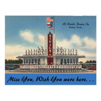 Texas, Sivils Drive In, Dallas Postcard