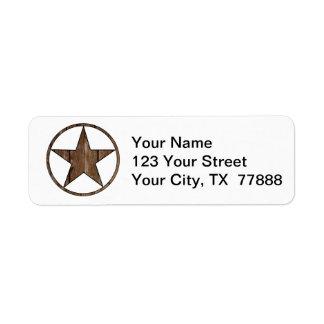 Texas star return address label