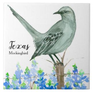 Texas State Bird Mockingbird Bluebonnet Tile