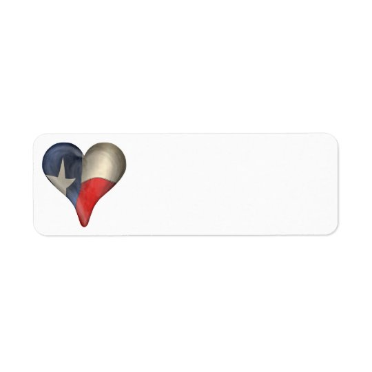 Texas State Flag In A Heart Return Address Label