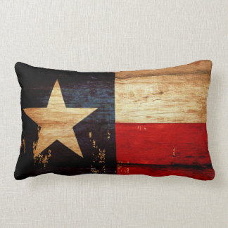 Texas State Flag in Rustic Wooden Grunge Look Lumbar Cushion