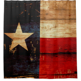 Texas State Flag in Rustic Wooden Grunge Look Shower Curtain