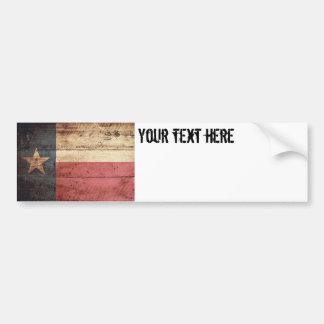 Texas State Flag on Old Wood Grain Bumper Sticker