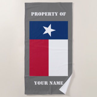 Texas state flag personalized beach towel