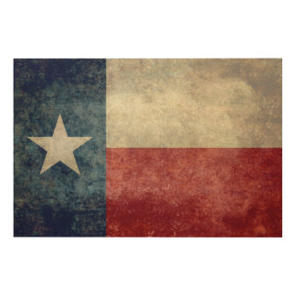 Texas state flag vintage retro style print on wood