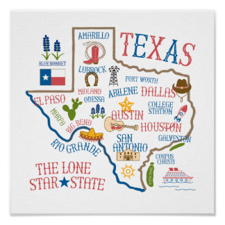 Texas State Landmarks Illustration Poster