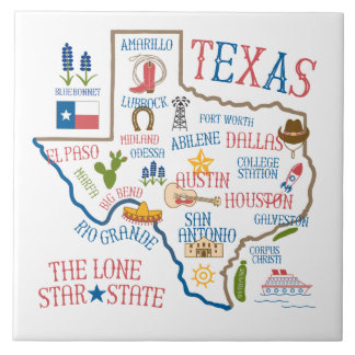Texas State Landmarks Illustration Trivet