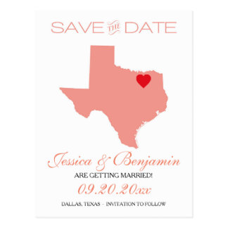 Texas State Map Save the Date Postcard