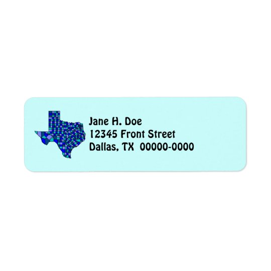 Texas State Map Shape TX Return Address Label