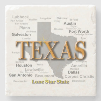 Texas State Map Stone Beverage Coaster