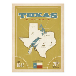 Texas State Map | The Lone Star State Postcard