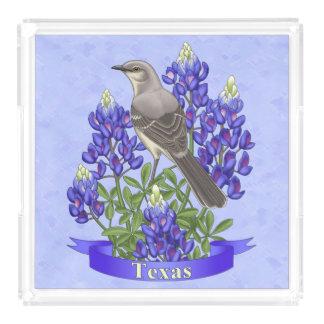 Texas State Mockingbird & Bluebonnet Flower