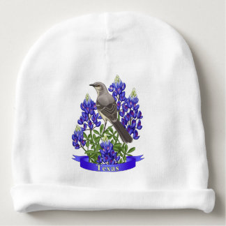 Texas State Mockingbird & Bluebonnet Flower Baby Beanie