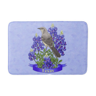 Texas State Mockingbird & Bluebonnet Flower Bath Mats