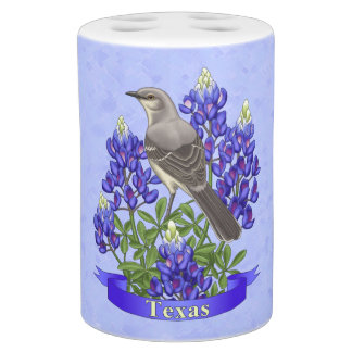 Texas State Mockingbird & Bluebonnet Flower Bath Sets