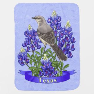 Texas State Mockingbird & Bluebonnet Flower Buggy Blanket