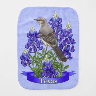 Texas State Mockingbird & Bluebonnet Flower Burp Cloth