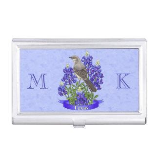 Texas State Mockingbird & Bluebonnet Flower Business Card Cases