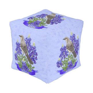 Texas State Mockingbird & Bluebonnet Flower Cube Pouffe