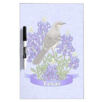 Texas State Mockingbird & Bluebonnet Flower Dry-Erase Board