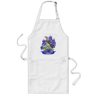 Texas State Mockingbird & Bluebonnet Flower Long Apron
