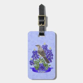 Texas State Mockingbird & Bluebonnet Flower Luggage Tag