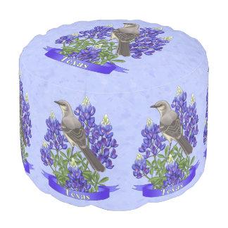 Texas State Mockingbird & Bluebonnet Flower Round Pouffe