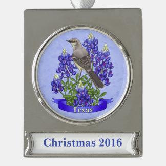 Texas State Mockingbird & Bluebonnet Flower Silver Plated Banner Ornament