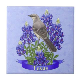 Texas State Mockingbird & Bluebonnet Flower Small Square Tile