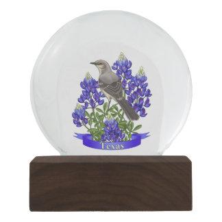 Texas State Mockingbird & Bluebonnet Flower Snow Globes