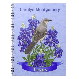 Texas State Mockingbird & Bluebonnet Flower Spiral Note Books
