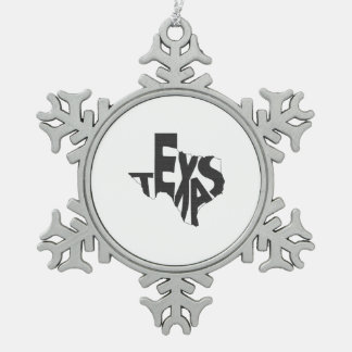 Texas State Name Word Art Blue Pewter Snowflake Ornament