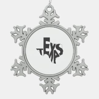 Texas State Name Word Art Blue Pewter Snowflake Decoration
