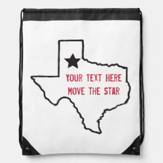 Texas State Outline Drawstring Bag