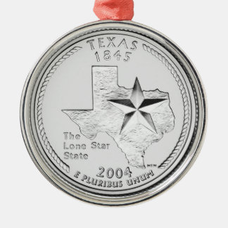 Texas State Quarter Metal Ornament