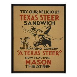 Texas Steer Poster