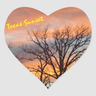Texas Sunset Heart Sticker