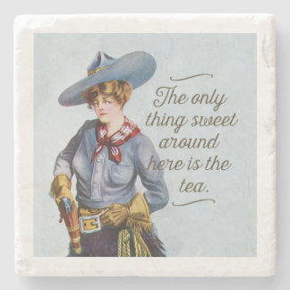 Texas Sweet Tea Vintage Cowgirl Art Stone Coaster