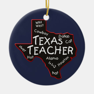Texas Teacher Ceramic Ornament
