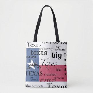 Texas Text Design-with Texas Flag Tote Bag