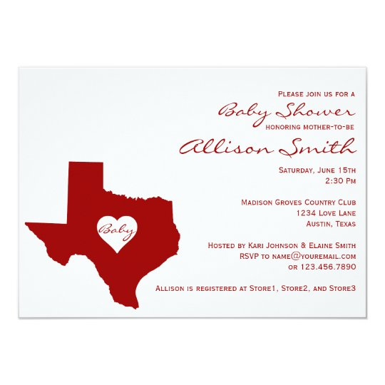 Texas Themed Red White Baby Shower Invitations