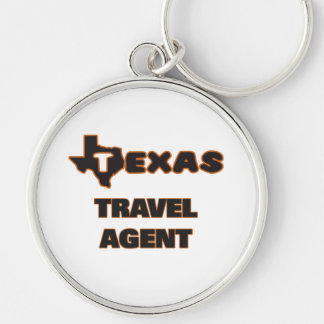 Texas Travel Agent Silver-Colored Round Key Ring