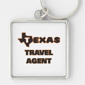 Texas Travel Agent Silver-Colored Square Key Ring