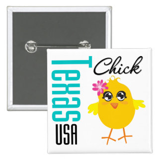 Texas USA Chick Pinback Button