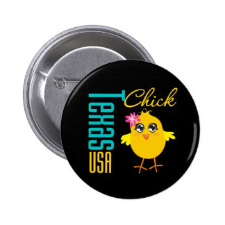 Texas USA Chick Pinback Buttons