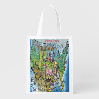 Texas USA Map Reusable Grocery Bag