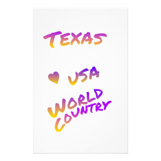 Texas USA world country, colorful text art Stationery
