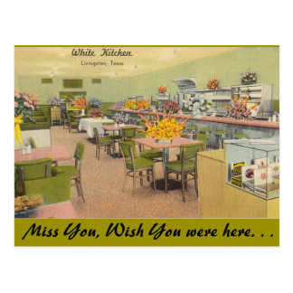 Texas, White Kitchen, Livingston Postcard