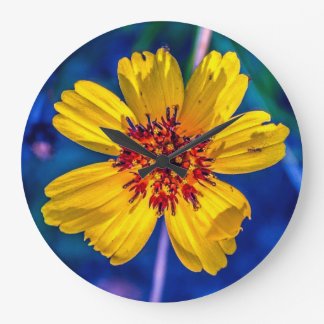 Texas Wildflower From the Garden in My Mind Large Clock