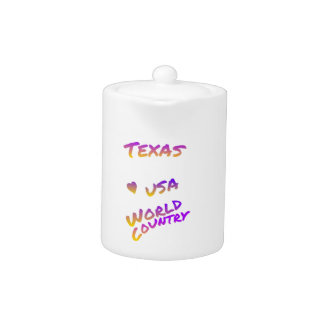Texas world country, colorful text art
